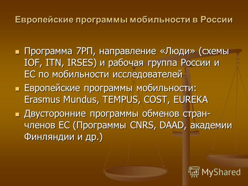 Европейские программы мобильности в России Программа 7РП, направление «Люди» (схемы IOF, ITN, IRSES) и рабочая группа России и ЕС по мобильности исследователей Программа 7РП, направление «Люди» (схемы IOF, ITN, IRSES) и рабочая группа России и ЕС по