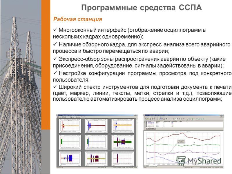 Программные средства ССПА Многооконный интерфейс (отображение осциллограмм в нескольких кадрах одновременно); Наличие обзорного кадра, для экспресс-анализа всего аварийного процесса и быстро перемещаться по аварии; Экспресс-обзор зоны распространения