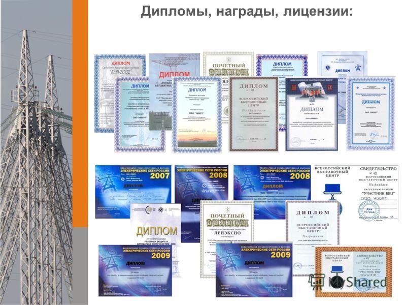 Дипломы, награды, лицензии: