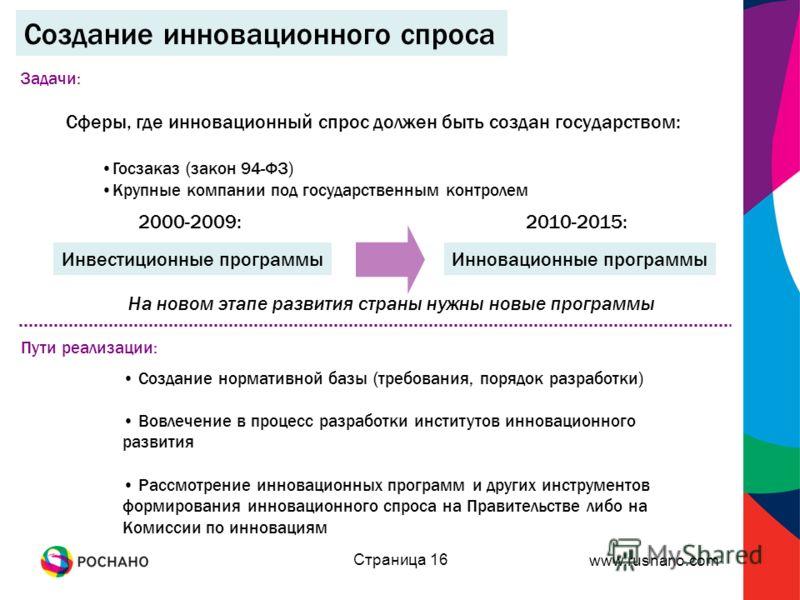 www.rusnano.com Страница 16 Сферы, где инновационный спрос должен быть создан государством: Госзаказ (закон 94-ФЗ) Крупные компании под государственным контролем Создание инновационного спроса Инвестиционные программыИнновационные программы 2000-2009