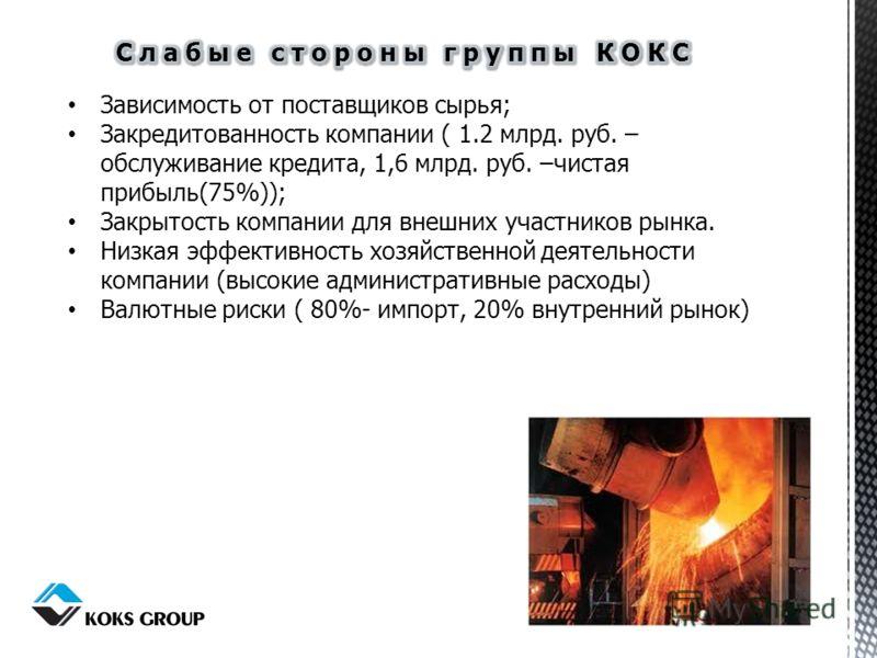 Зависимость от поставщиков сырья; Закредитованность компании ( 1.2 млрд. руб. – обслуживание кредита, 1,6 млрд. руб. –чистая прибыль(75%)); Закрытость компании для внешних участников рынка. Низкая эффективность хозяйственной деятельности компании (вы