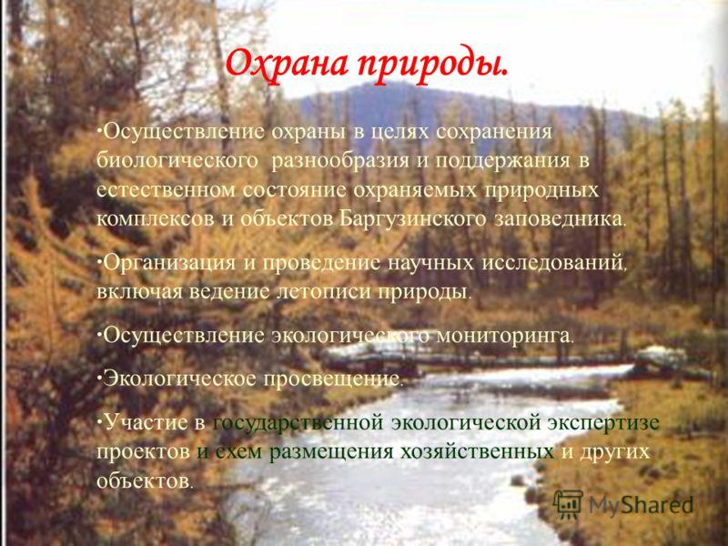 Баргузинский заповедник как составная часть природного наследия