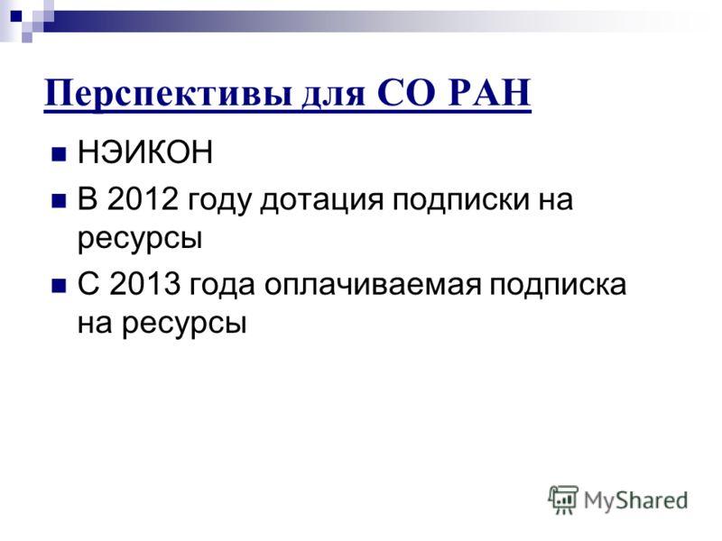 Перспективы для СО РАН НЭИКОН В 2012 году дотация подписки на ресурсы С 2013 года оплачиваемая подписка на ресурсы