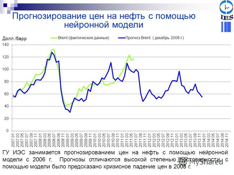 Прогнозирование цен на нефть с помощью нейронной модели ГУ ИЭС занимается прогнозированием цен на нефть с помощью нейронной модели с 2006 г. Прогнозы отличаются высокой степенью достоверности, с помощью модели было предсказано кризисное падение цен в