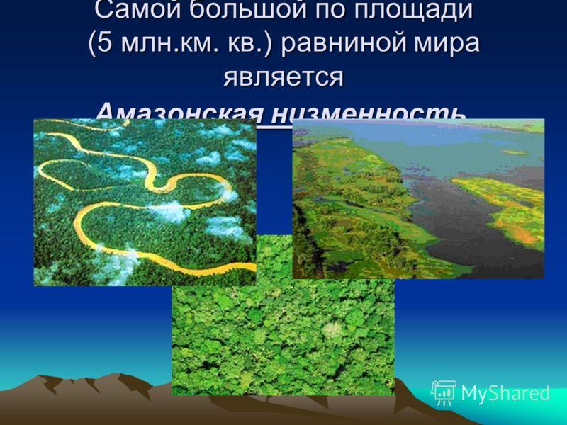 Самой большой по площади (5 млн.км. кв.) равниной мира является Амазонская низменность.