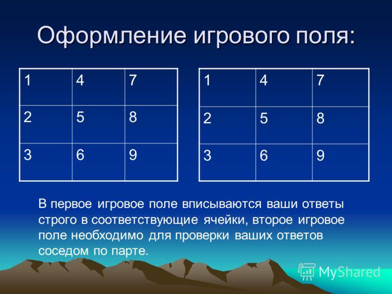 Оформление игрового поля: 147 258 369 147 258 369 В первое игровое поле вписываются ваши ответы строго в соответствующие ячейки, второе игровое поле необходимо для проверки ваших ответов соседом по парте.