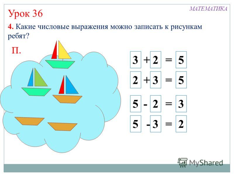 Урок 36 4. Какие числовые выражения можно записать к рисункам ребят? 3 + 2 = 5 2 + 3 = 5 5 - 2 = 3 5 - 3 = 2 МАТЕМАТИКА П.