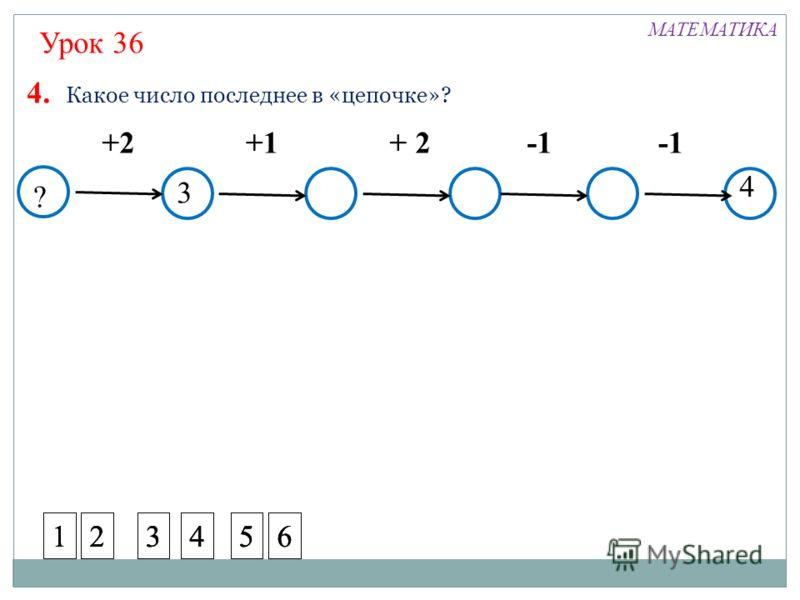 ? +2+1+ 2 4. Какое число последнее в «цепочке»? 4 3 Урок 36 МАТЕМАТИКА 123456123456123456