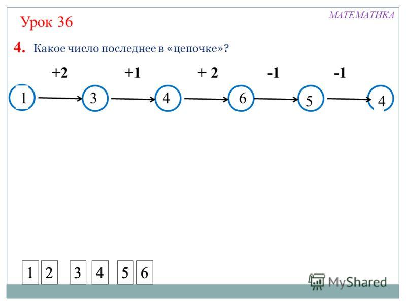 ? +2+1+ 2 4. Какое число последнее в «цепочке»? ? 4 4 13 5 6 Урок 36 МАТЕМАТИКА 123456123456123456