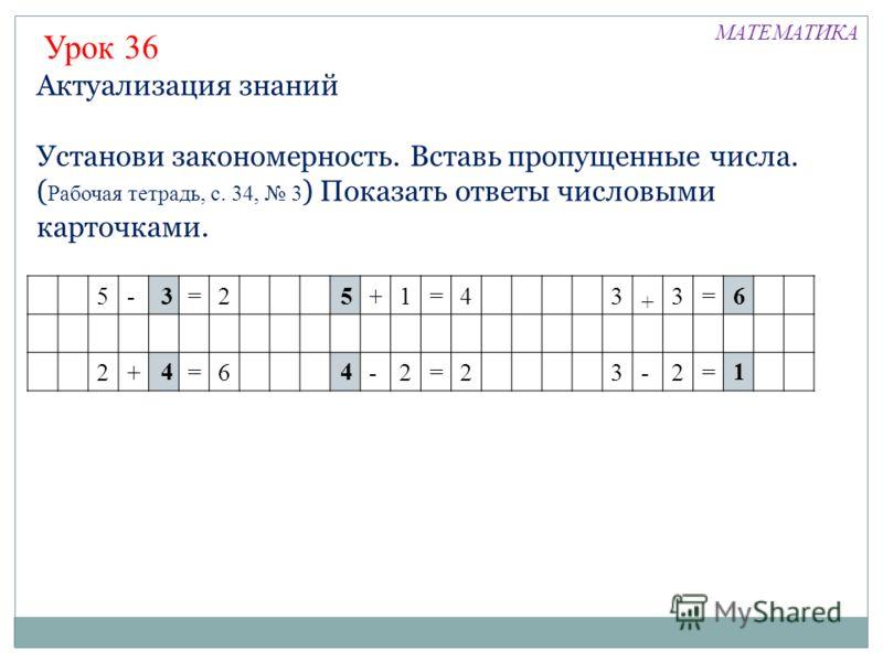 Актуализация знаний Установи закономерность. Вставь пропущенные числа. ( Рабочая тетрадь, с. 34, 3 ) Показать ответы числовыми карточками. Урок 36 5-=2+1=43 + 3= 2+=6-2=23-2= 3 4 5 4 6 1 МАТЕМАТИКА