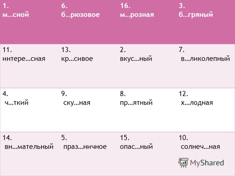 1. м…сной 6. б…рюзовое 16. м…розная 3. б…гряный 11. интере…сная 13. кр…сивое 2. вкус…ный 7. в…ликолепный 4. ч…ткий 9. ску…ная 8. пр…ятный 12. х…лодная 14. вн…мательный 5. праз…ничное 15. опас…ный 10. солнеч…ная
