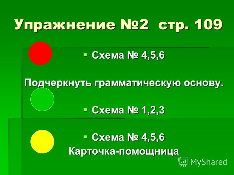 Упражнение 2 стр. 109 Схема 4,5,6 Схема 4,5,6 Подчеркнуть грамматическую основу. Схема 1,2,3 Схема 1,2,3 Схема 4,5,6 Схема 4,5,6Карточка-помощница