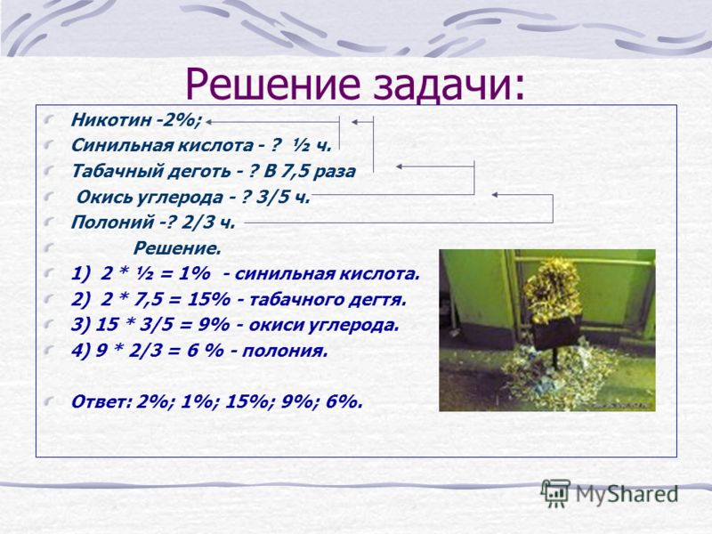 Решение задачи: Никотин -2%; Синильная кислота - ? ½ ч. Табачный деготь - ? В 7,5 раза Окись углерода - ? 3/5 ч. Полоний -? 2/3 ч. Решение. 1) 2 * ½ = 1% - синильная кислота. 2) 2 * 7,5 = 15% - табачного дегтя. 3) 15 * 3/5 = 9% - окиси углерода. 4) 9