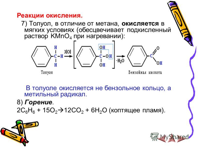 Реакции окисления. 7) Толуол, в отличие от метана, окисляется в мягких условиях (обесцвечивает подкисленный раствор KMnO 4 при нагревании): В толуоле окисляется не бензольное кольцо, а метильный радикал. 8) Горение. 2C 6 H 6 + 15O 2 12CO 2 + 6H 2 O (
