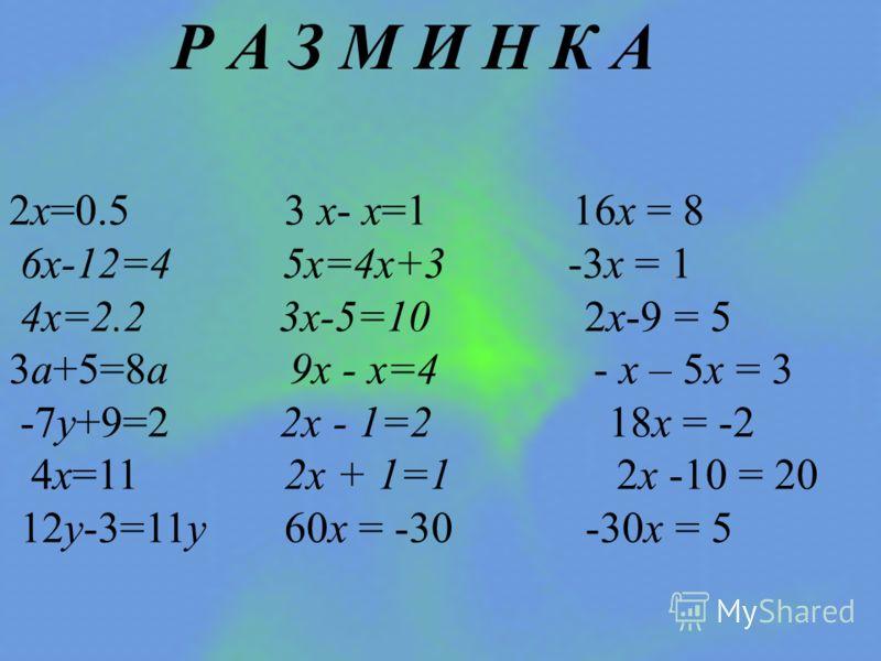 Р А З М И Н К А 2х=0.5 3 х- х=1 16х = 8 6х-12=4 5х=4х+3 -3х = 1 4х=2.2 3х-5=10 2х-9 = 5 3a+5=8a 9х - х=4 - х – 5х = 3 -7у+9=2 2х - 1=2 18х = -2 4х=11 2х + 1=1 2х -10 = 20 12у-3=11у 60х = -30 -30х = 5