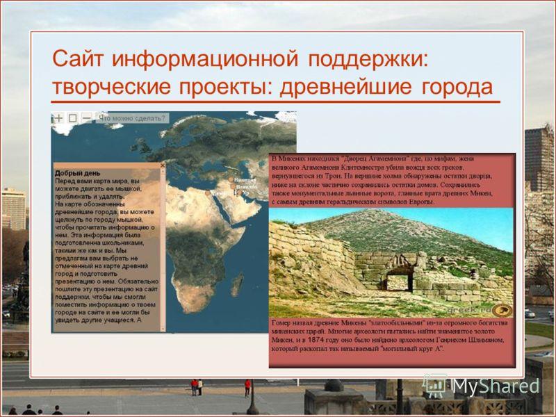 Сайт информационной поддержки: творческие проекты: древнейшие города