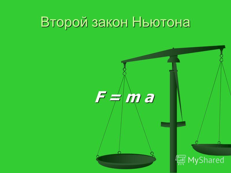 Второй закон Ньютона F = m a F = m a