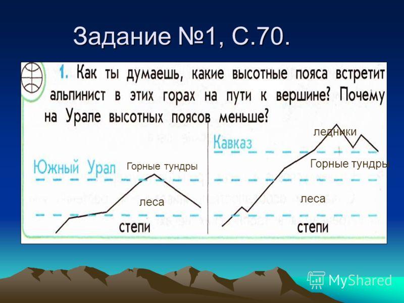 Задание 1, С.70. леса Горные тундры леса Горные тундры ледники