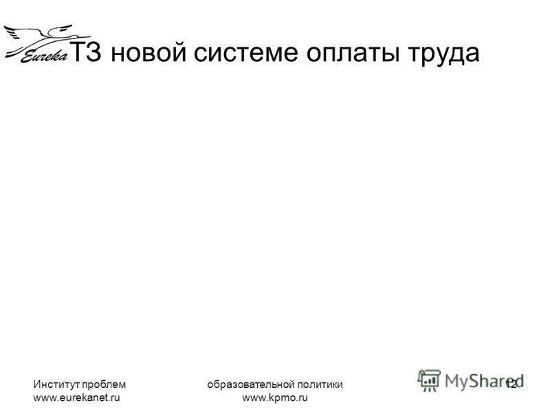 Институт проблем www.eurekanet.ru образовательной политики www.kpmo.ru 12 ТЗ новой системе оплаты труда