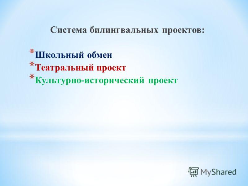 Система билингвальных проектов: * Школьный обмен * Театральный проект * Культурно-исторический проект