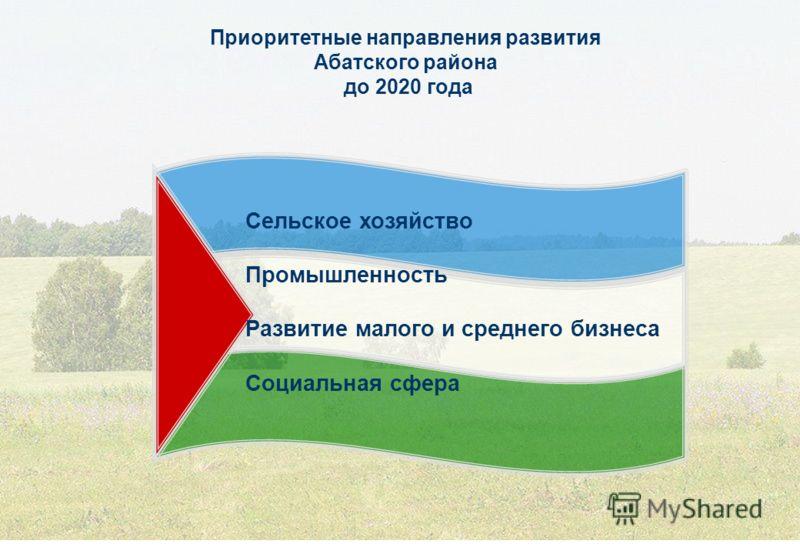 Приоритетные направления развития Абатского района до 2020 года Сельское хозяйство Промышленность Развитие малого и среднего бизнеса Социальная сфера