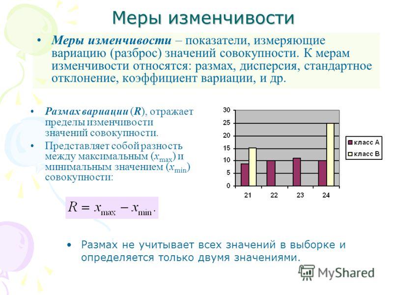 Меры изменчивости Меры изменчивости – показатели, измеряющие вариацию (разброс) значений совокупности. К мерам изменчивости относятся: размах, дисперсия, стандартное отклонение, коэффициент вариации, и др. Размах вариации (R), отражает пределы изменч