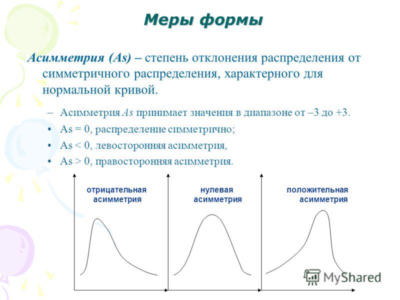 Меры формы Асимметрия (As) – степень отклонения распределения от симметричного распределения, характерного для нормальной кривой. –Асимметрия As принимает значения в диапазоне от –3 до +3. As = 0, распределение симметрично; As < 0, левосторонняя асим