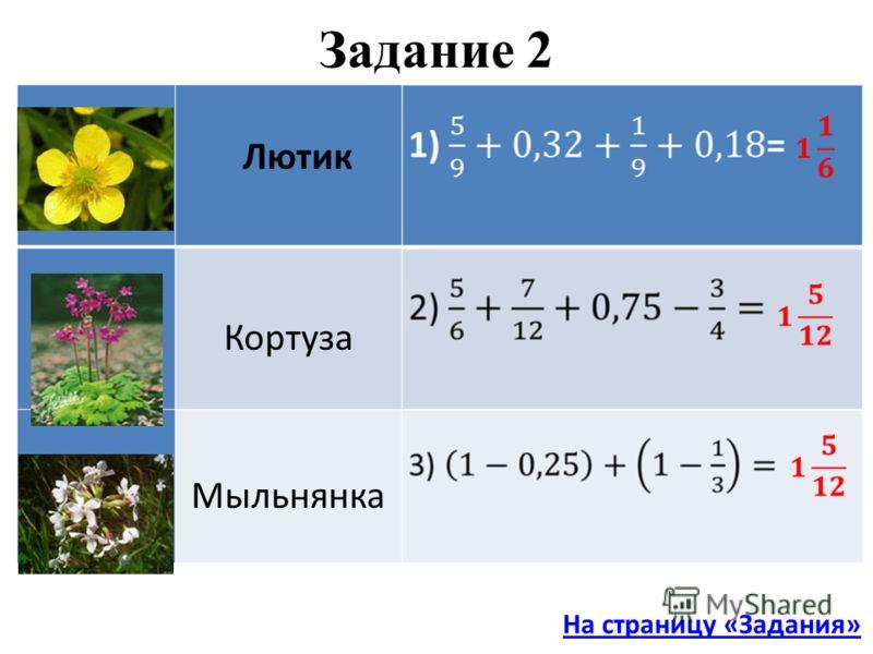 Кортуза Мыльнянка Задание 2 Лютик На страницу «Задания»