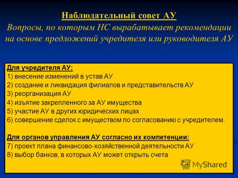 Наблюдательный совет АУ Вопросы, по которым НС вырабатывает рекомендации на основе предложений учредителя или руководителя АУ Для учредителя АУ: 1) внесение изменений в устав АУ 2) создание и ликвидация филиалов и представительств АУ 3) реорганизация