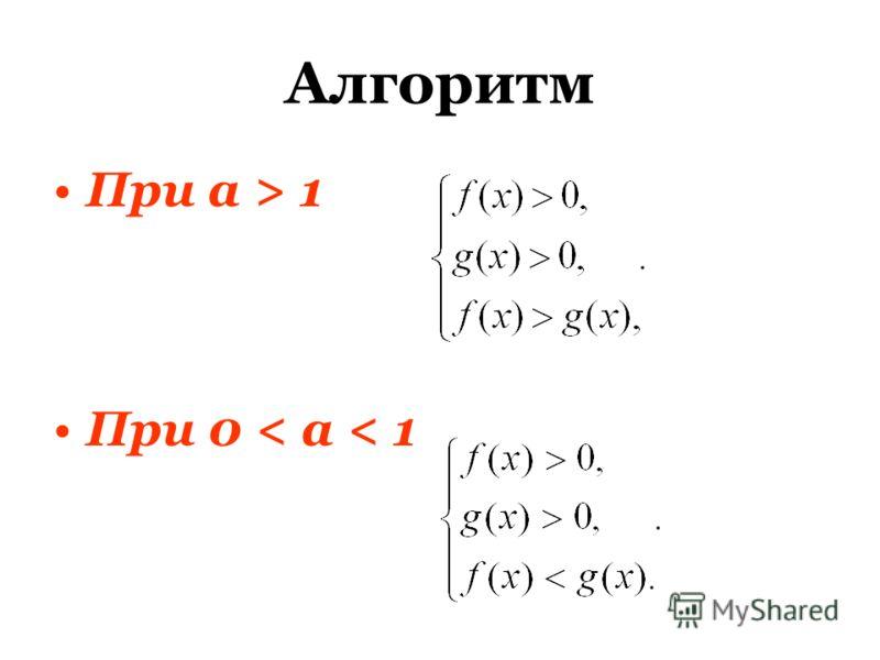 Алгоритм При а > 1 При 0 < a < 1