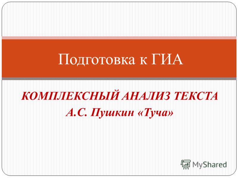 КОМПЛЕКСНЫЙ АНАЛИЗ ТЕКСТА А.С. Пушкин «Туча» Подготовка к ГИА