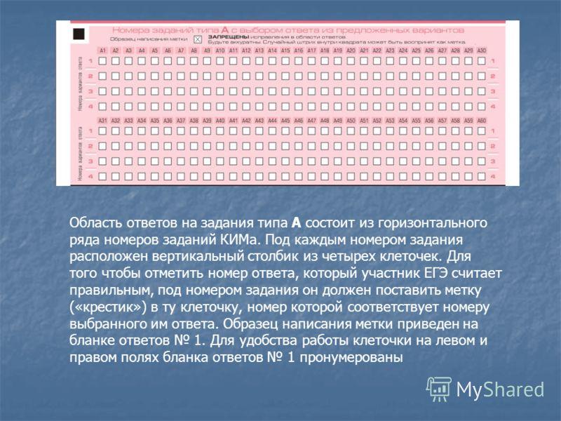 Область ответов на задания типа А состоит из горизонтального ряда номеров заданий КИМа. Под каждым номером задания расположен вертикальный столбик из четырех клеточек. Для того чтобы отметить номер ответа, который участник ЕГЭ считает правильным, под