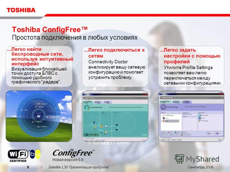 Сентябрь 20069/Satellite L30 Презентация продукта Toshiba ConfigFree Простота подключения в любых условиях...Легко найти беспроводные сети, используя интуитивный интерфейс Визуализация ближайшей точки доступа БЛВС с помощью удобного графического