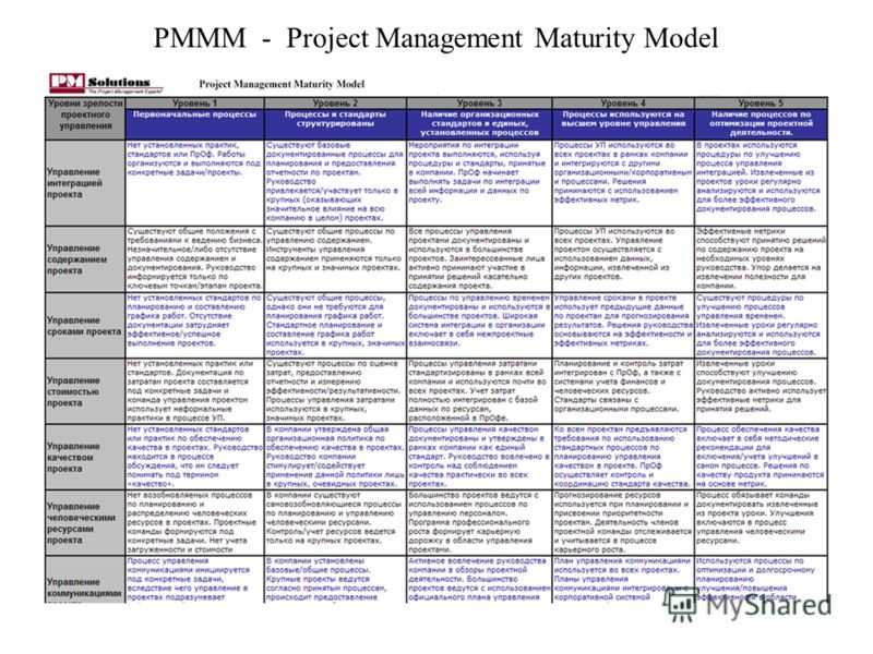 PMMM - Project Management Maturity Model