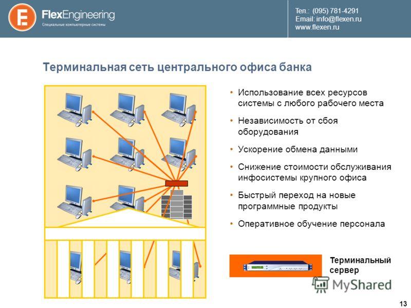 13 Teл.: (095) 781-4291 Email: info@flexen.ru www.flexen.ru Терминальная сеть центрального офиса банка Использование всех ресурсов системы с любого рабочего места Независимость от сбоя оборудования Ускорение обмена данными Снижение стоимости обслужи