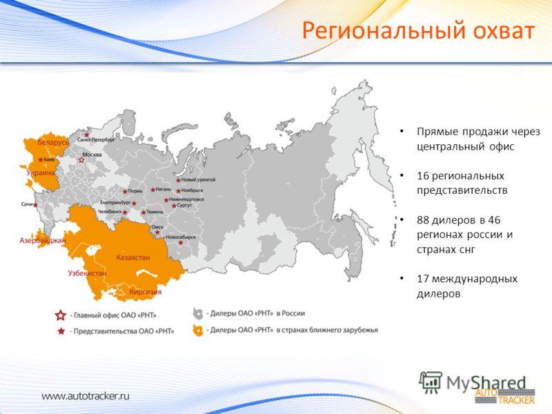 Региональный охват Прямые продажи через центральный офис 16 региональных представительств 88 дилеров в 46 регионах россии и странах снг 17 международных дилеров