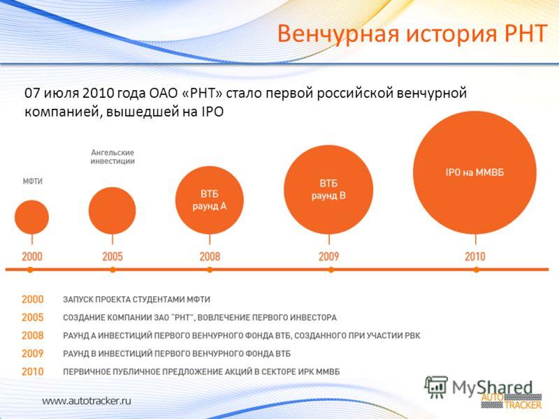 Венчурная история РНТ 07 июля 2010 года ОАО «РНТ» стало первой российской венчурной компанией, вышедшей на IPO