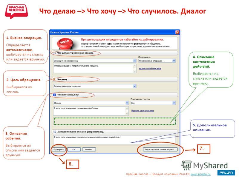 Красная Кнопка – Продукт компании ProLAN, www.prolan.ruwww.prolan.ru 1. Бизнес-операция. Определяется автоматически, выбирается из списка или задается вручную. 2. Цель обращения. Выбирается из списка. 3. Описание события. Выбирается из списка или зад
