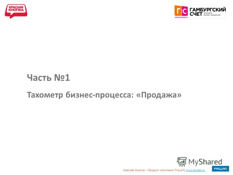 Красная Кнопка – Продукт компании ProLAN, www.prolan.ruwww.prolan.ru Часть 1 Тахометр бизнес-процесса: «Продажа»