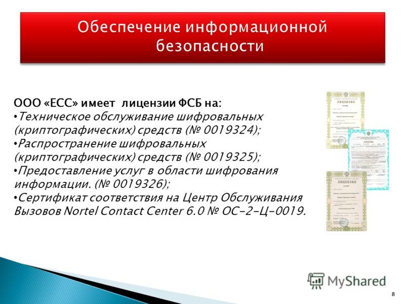 88 ООО «ЕСС» имеет лицензии ФСБ на: Техническое обслуживание шифровальных (криптографических) средств ( 0019324); Распространение шифровальных (криптографических) средств ( 0019325); Предоставление услуг в области шифрования информации. ( 0019326); С