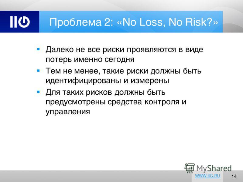 14 WWW.IIG.RU Проблема 2: «No Loss, No Risk?» Далеко не все риски проявляются в виде потерь именно сегодня Тем не менее, такие риски должны быть идентифицированы и измерены Для таких рисков должны быть предусмотрены средства контроля и управления