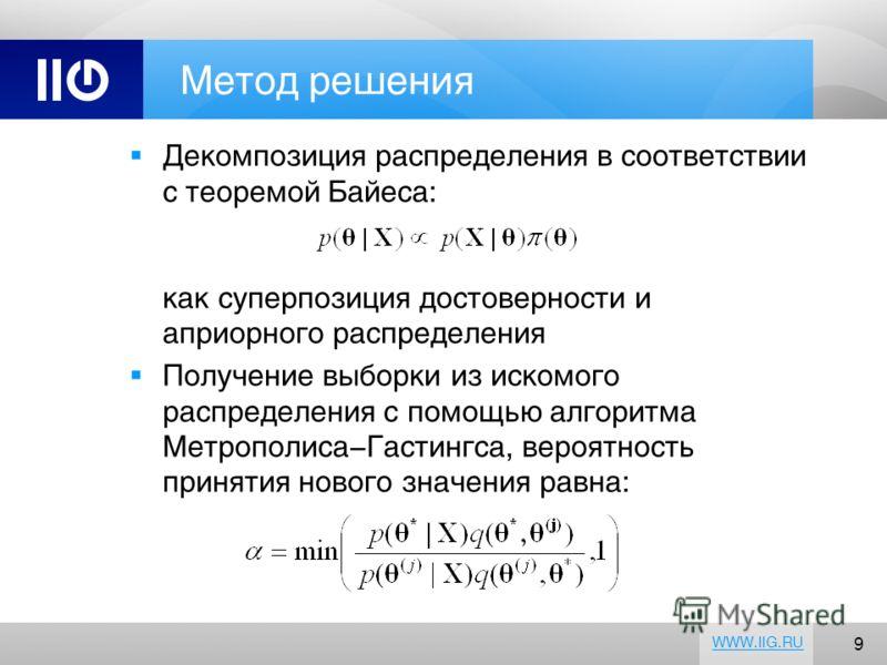 9 WWW.IIG.RU Метод решения Декомпозиция распределения в соответствии с теоремой Байеса: как суперпозиция достоверности и априорного распределения Получение выборки из искомого распределения с помощью алгоритма Метрополиса-Гастингса, вероятность приня