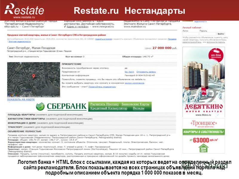 Restate.ru Нестандарты Логотип банка + HTML блок с ссылками, каждая из которых ведет на определенный раздел сайта рекламодателя. Блок показывается на всех страницах объявлений портала над подробным описанием объекта порядка 1 000 000 показов в месяц.