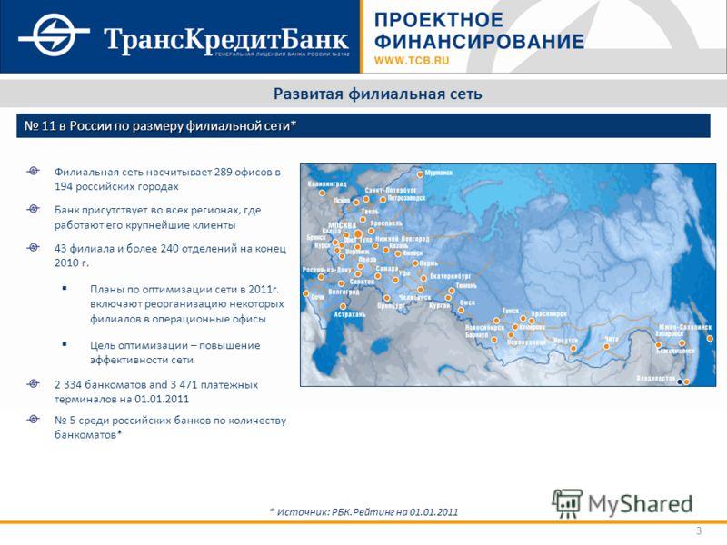 3 Развитая филиальная сеть * Источник: РБК.Рейтинг на 01.01.2011 Филиальная сеть насчитывает 289 офисов в 194 российских городах Банк присутствует во всех регионах, где работают его крупнейшие клиенты 43 филиала и более 240 отделений на конец 2010 г.