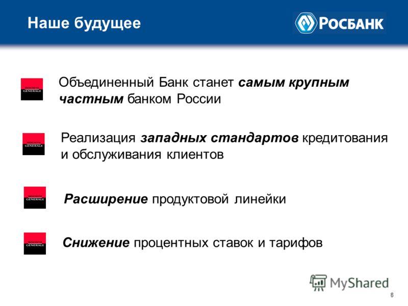 8 8 Наше будущее Объединенный Банк станет самым крупным частным банком России Реализация западных стандартов кредитования и обслуживания клиентов Расширение продуктовой линейки Снижение процентных ставок и тарифов
