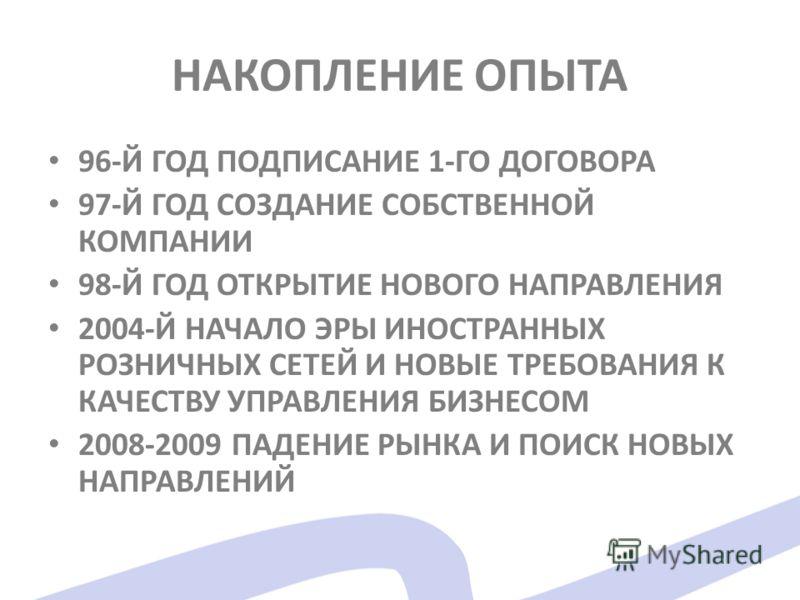 НАКОПЛЕНИЕ ОПЫТА 96-Й ГОД ПОДПИСАНИЕ 1-ГО ДОГОВОРА 97-Й ГОД СОЗДАНИЕ СОБСТВЕННОЙ КОМПАНИИ 98-Й ГОД ОТКРЫТИЕ НОВОГО НАПРАВЛЕНИЯ 2004-Й НАЧАЛО ЭРЫ ИНОСТРАННЫХ РОЗНИЧНЫХ СЕТЕЙ И НОВЫЕ ТРЕБОВАНИЯ К КАЧЕСТВУ УПРАВЛЕНИЯ БИЗНЕСОМ 2008-2009 ПАДЕНИЕ РЫНКА И П