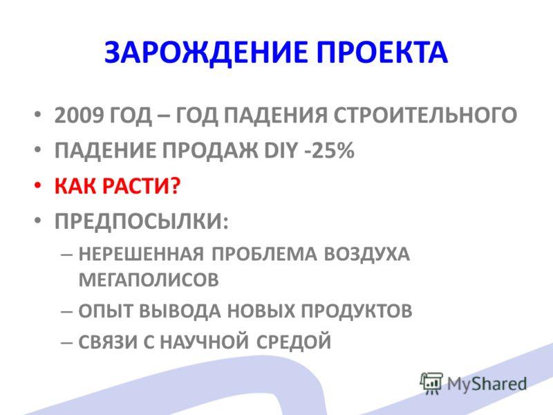 ЗАРОЖДЕНИЕ ПРОЕКТА 2009 ГОД – ГОД ПАДЕНИЯ СТРОИТЕЛЬНОГО ПАДЕНИЕ ПРОДАЖ DIY -25% КАК РАСТИ? ПРЕДПОСЫЛКИ: – НЕРЕШЕННАЯ ПРОБЛЕМА ВОЗДУХА МЕГАПОЛИСОВ – ОПЫТ ВЫВОДА НОВЫХ ПРОДУКТОВ – СВЯЗИ С НАУЧНОЙ СРЕДОЙ