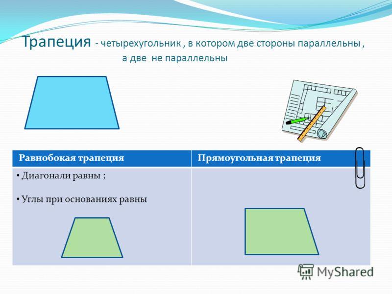 Трапеция - четырехугольник, в котором две стороны параллельны, а две не параллельны Равнобокая трапеция Прямоугольная трапеция Диагонали равны ; Углы при основаниях равны