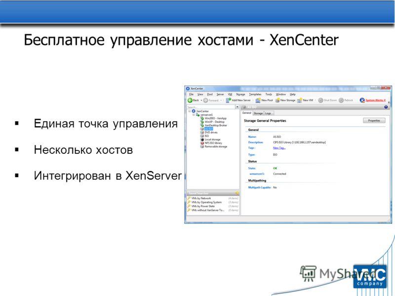 Бесплатное управление хостами - XenCenter Единая точка управления Несколько хостов Интегрирован в XenServer
