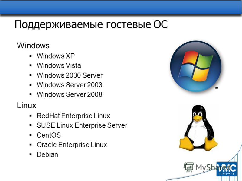 Поддерживаемые гостевые ОС Windows Windows XP Windows Vista Windows 2000 Server Windows Server 2003 Windows Server 2008 Linux RedHat Enterprise Linux SUSE Linux Enterprise Server CentOS Oracle Enterprise Linux Debian